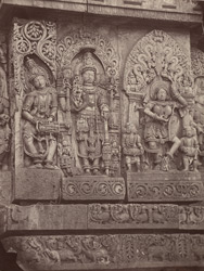 Hullabeed. The Great Temple. Sculptures from pavilions in centre of west front. [Hoysaleshwara Temple, Halebid.]
